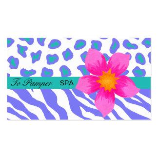 Lavender, White, Teal Floral Zebra & Cheetah Skin Pack Of Standard Business Cards