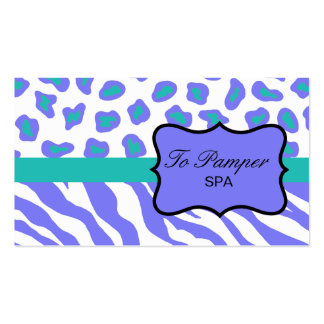 Lavender, White, Teal Zebra & Cheetah Skin Custom Pack Of Standard Business Cards