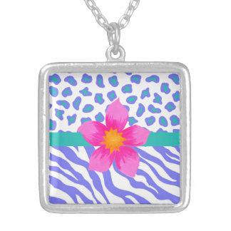 Lavender & White Zebra & Cheetah Pink Flower Square Pendant Necklace