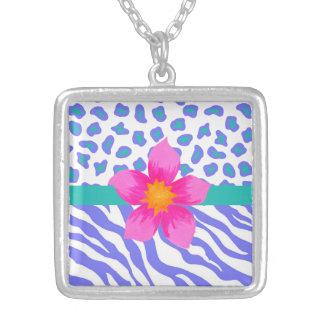 Lavender & White Zebra & Cheetah Pink Flower Square Pendant Necklace