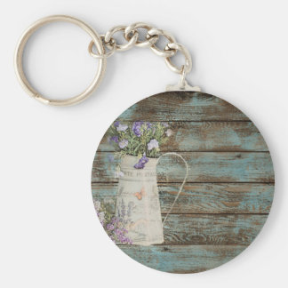 lavender wildflower blue barn wood french country key ring