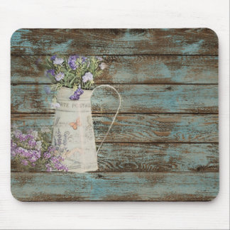 lavender wildflower blue barn wood french country mouse pad