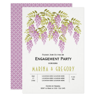 Lavender wisteria green wedding engagement party card