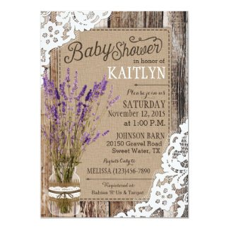 Lavender Wood Lace Rustic Baby Shower Card