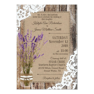 Lavender Wood Lace Rustic Wedding Card