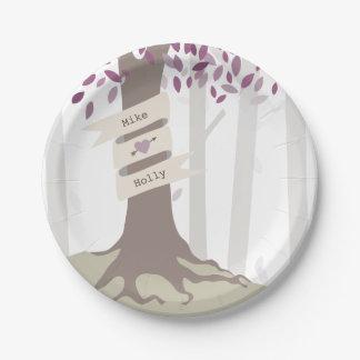 Lavender Woodland Wedding 7 Inch Paper Plate