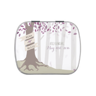 Lavender Woodland Wedding Jelly Belly Candy Tins
