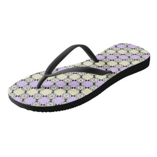 Lavender, Yellow, and Rosette Pattern Flip-Flops Thongs
