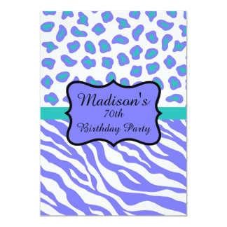 Lavender Zebra Leopard 70th Birthday Invitation