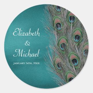 Lavish Peacock Feathers Round Wedding Favor Label Round Sticker