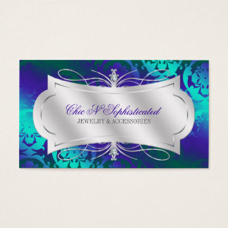 Lavish Purple Turquoise Diamond Damask Swirl
