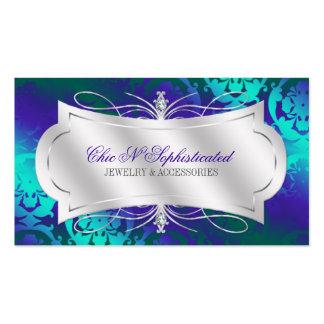 Lavish Purple Turquoise Diamond Damask Swirl Pack Of Standard Business Cards
