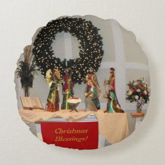 Lavish Richly Coloured Nativity Display Design Round Cushion