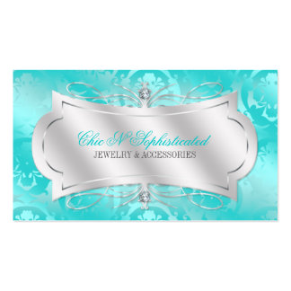 Lavish Teal Diamond Damask Swirl Double-Sided Standard Business Cards (Pack Of 100)