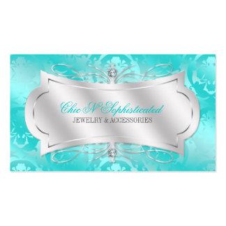 Lavish Teal Diamond Damask Swirl Business Card