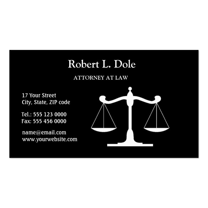 Law Businesscard Black Pack Of Standard Business Cards