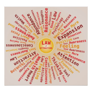 Law of Attraction Word Cloud Yellow Orange Colors Poster