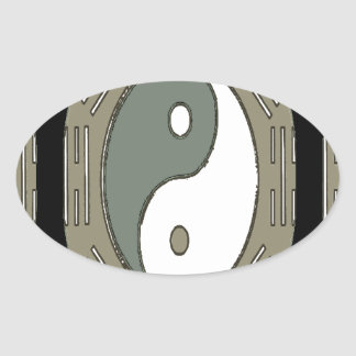 Law of Attraction - Ying Yang Oval Sticker