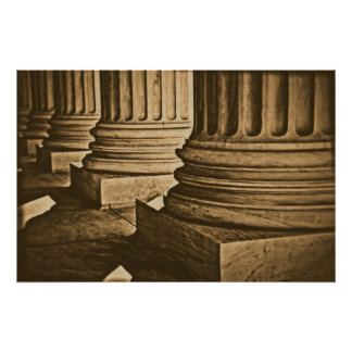 Law Pillars Retro Vintage Wrapped Canvas Poster