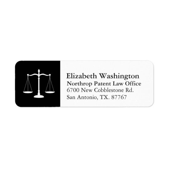 Law Professional Justice Scales Customised White Return Address Label