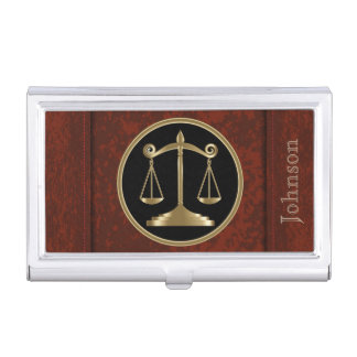 Law | Scales of Justice | Personalize Business Card Holder