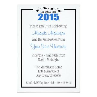 """Law School 2015 Graduation Invite (Blue Caps) 5"""" X 7"""" Invitation Card"""