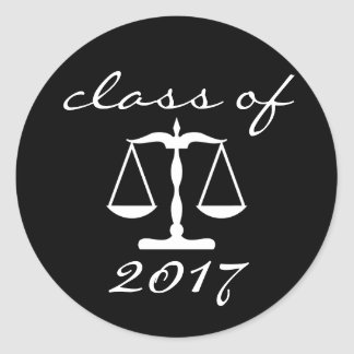 Law School Class Of 2017 (Black Scales Of Justice) Round Sticker