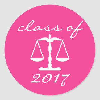 Law School Class Of 2017 (Pink Scales Of Justice) Round Sticker