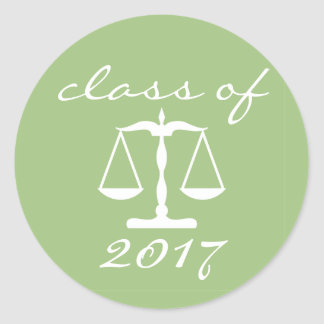Law School Class Of 2017(Sage Scales Of Justice) Round Sticker