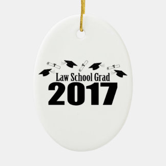 Law School Grad 2017 Caps And Diplomas (Black) Ceramic Oval Decoration