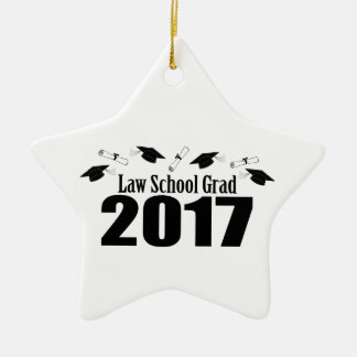 Law School Grad 2017 Caps And Diplomas (Black) Ceramic Star Decoration