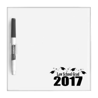 Law School Grad 2017 Caps And Diplomas (Black) Dry-Erase Whiteboard