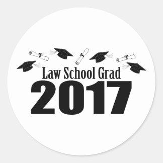 Law School Grad 2017 Caps And Diplomas (Black) Round Sticker