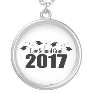 Law School Grad 2017 Caps And Diplomas (Black) Silver Plated Necklace