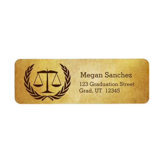 Law School Grad Parchment Return Address Label