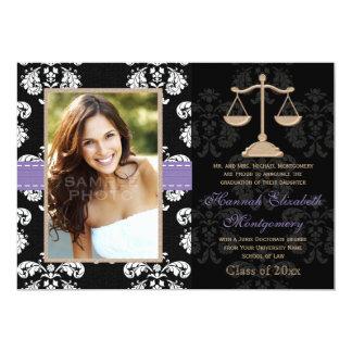 """Law School Graduation Announcements Invites Purple 5"""" X 7"""" Invitation Card"""