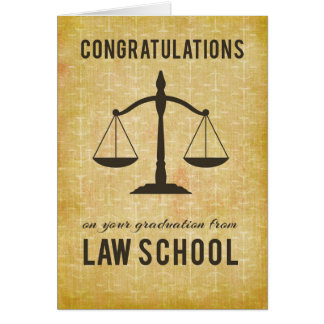 Law School Graduation Congratulations Scale of Jus Card