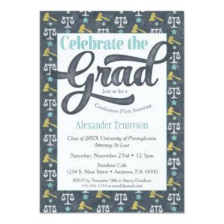 Law School Graduation Invitation Lawyer Gray Aqua