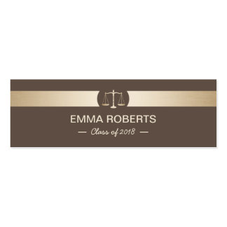 Law School Graduation Name Tag Brown & Gold Insert Pack Of Skinny Business Cards