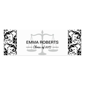 Law School Graduation Name Tag Damask Insert Card Double-Sided Mini Business Cards (Pack Of 20)