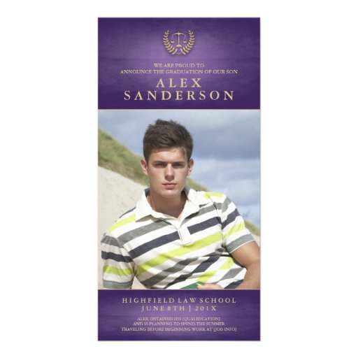 Law School Graduation Photo Announcement | Purple Custom Photo Card