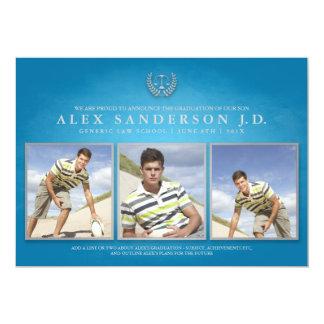 Law School Graduation Photo Card   Blue 13 Cm X 18 Cm Invitation Card