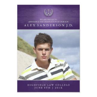 Law School Graduation Photo Card   Purple 13 Cm X 18 Cm Invitation Card