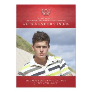 Law School Graduation Photo Card   Red 13 Cm X 18 Cm Invitation Card