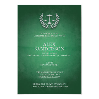 Law School Graduation with Laurel Wreath & Scales 13 Cm X 18 Cm Invitation Card