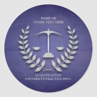 Law School | Justice Scales and Laurel Wreath Round Sticker