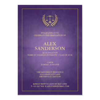 Law School Laurel Wreath & Scales Graduation 13 Cm X 18 Cm Invitation Card
