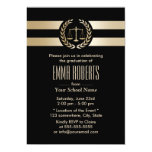Law School Modern Black & Gold Graduation Party 13 Cm X 18 Cm Invitation Card