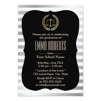 Law School Modern Silver Stripes Graduation Party 13 Cm X 18 Cm Invitation Card