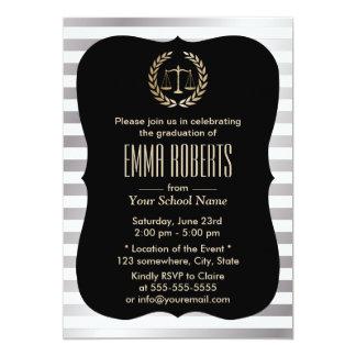 Law School Modern Silver Stripes Graduation Party 13 Cm X 18 Cm Invitation Card